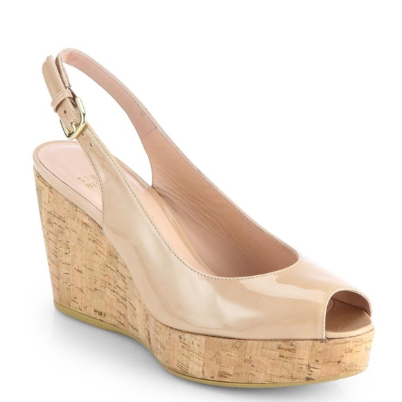 Stuart Weitzman Denim Peep-Toe Wedges looking for for sale buy online with paypal vVYqi4Wv